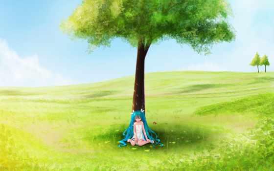 дерево, девушка, summer, поле, поляне, деревом, рисунок, под,