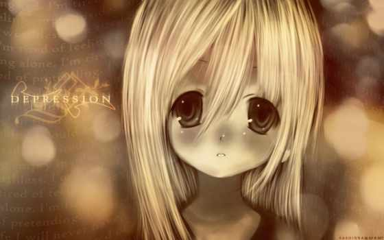anime, depression, девушка,