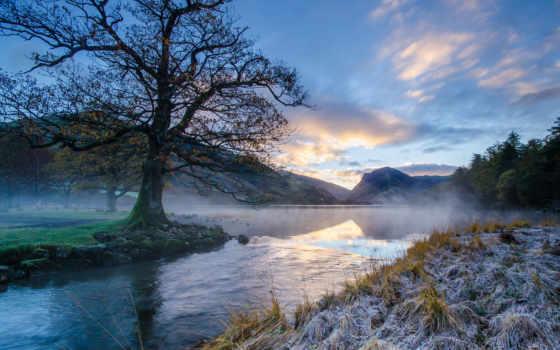иней, trees, река, утро, первые, озера, осень, трава, summer, фотографий,