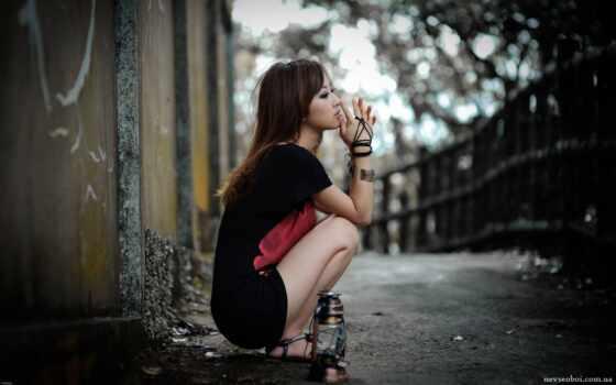 девушка, грусть, одиночка