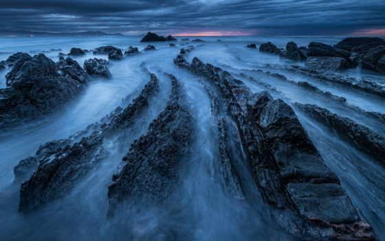скалы, море, берегу, туман, ночь, тумане, hui, blue, нояб,