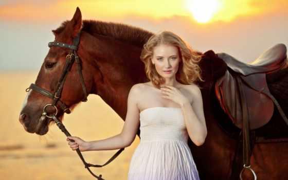 лошадь, девушка, катание, stock, женщина, пляж, море, закат, images, photos,