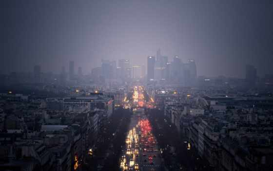 огни, дождь, дорога, город, пасмурно, небоскребы, oblaka, ultra, вечер,