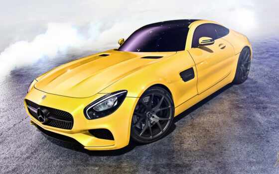 mercedes, amg, benz, yellow, car, сбоку, взгляд, desktop,