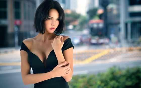 девушка, brunette, платье, взгляд, яndex, чёрное, коллекциях, волосы, город, card, коллекции,