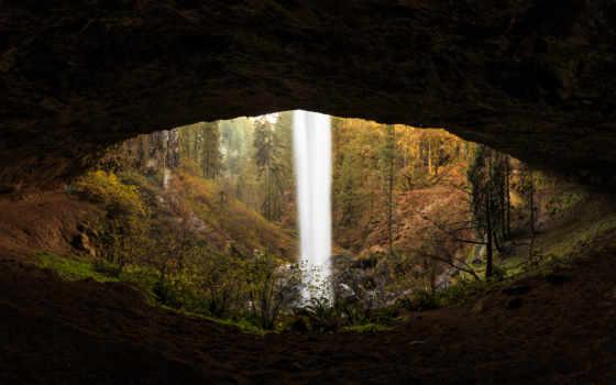 пещера, лес, водопад, waterfalls, природа
