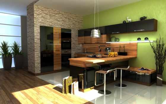 кухня, обои, стиль, зебрано, паркет, рваный, камен