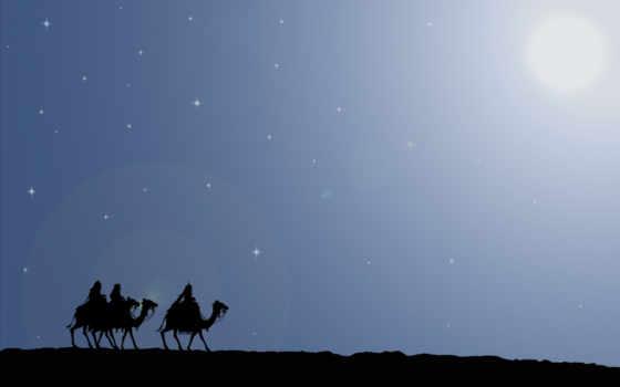 camel, stars, night, graphics, путь, верблюды, дары, звезда, волхвы, рождество, дорога, подарки, вифлеем, путешествие,
