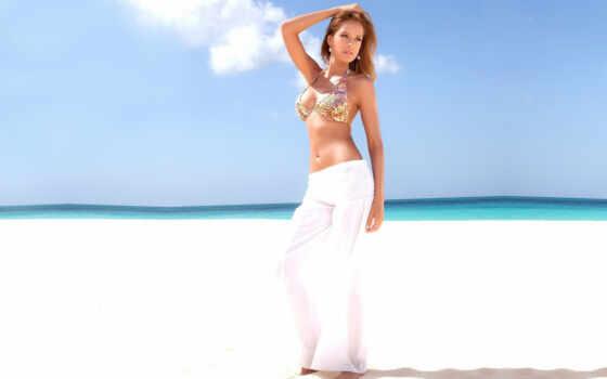 девушка, пляже, пляж