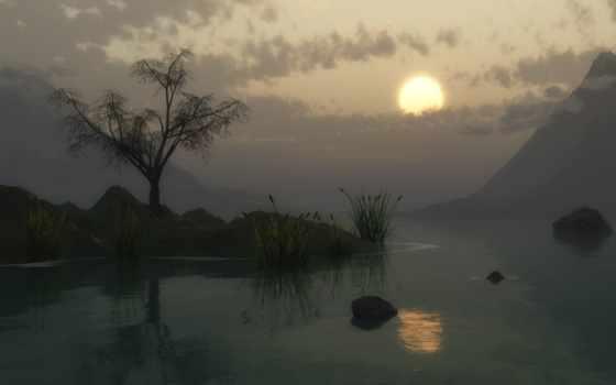 горы, закат, sun, озеро, сумерки, дерево, камыши,