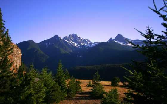 лес, pine, озеро, diablo, травой, дек, покрыты, trees, горные, холмы, качественные,