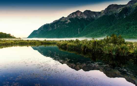горы, озеро, разное, красивые, water, туман, лесом, природа, нояб, rutor,