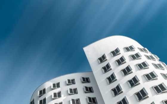 architecture, building, германия, взгляд, город, worms, глаз, gehry, небо,