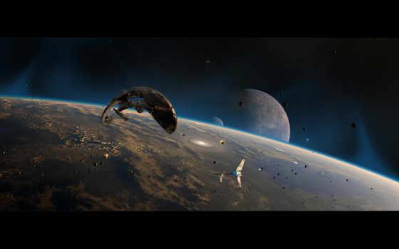планеты, обломки, космические, space, звездолеты, картинка, войны, картинку, wars, star, корабли,