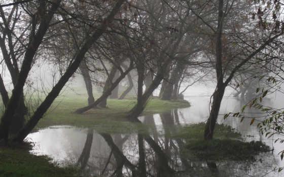 water, дымка, природа, небо, дек, девушка, горы, река, туман, лес, waters,