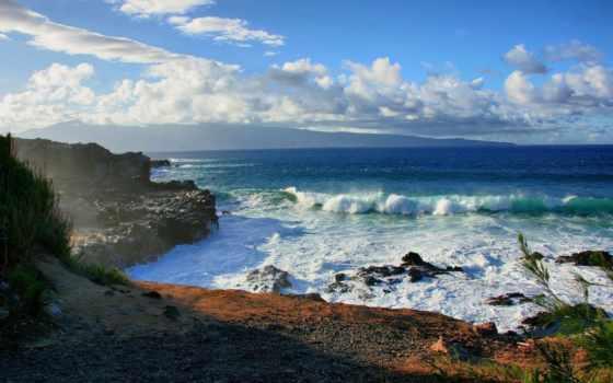 скалы, море, ocean, берег, water, камни, небо, sun, пейзажи -, oblaka,