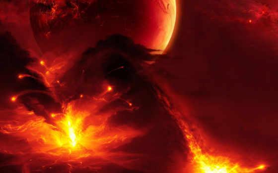 вулкан, извержение, лава, красивые, элемент, бунт,