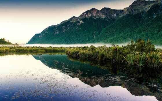 озеро, природа, гора, лес, река, туман, море, зеркало, отражение, landscape