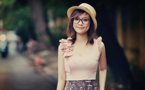 девушка, asian, очки