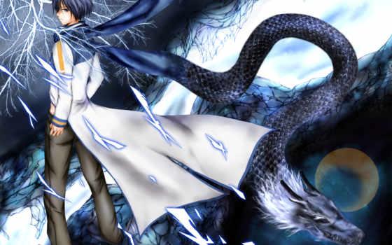 дракон, art, парень, вокалоид, kaito, vocaloid,