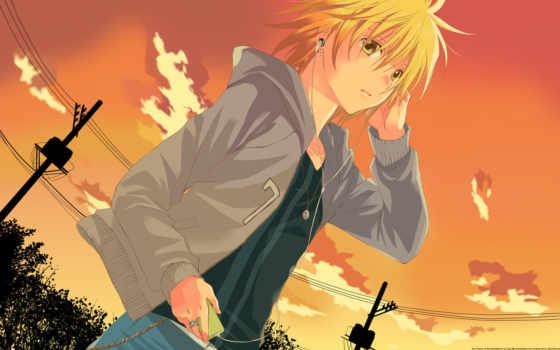 anime, парень, проигрыватель