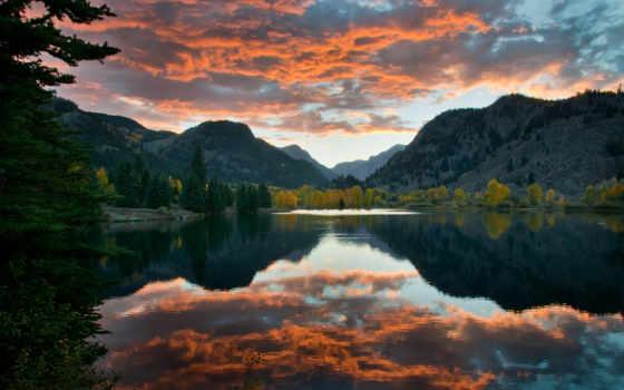 котором, дек, небо, осень, гладь, гладкая, поет, озера, горы, отражается, озеро,