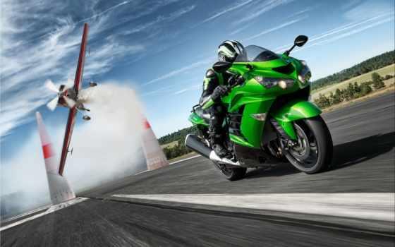 мотоцикл, kawasaki, мотоциклы, гонщица, мото, зелёный, спорт, трассе, скорость,