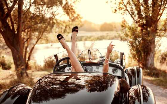 cabriolet, ретро, изображение, cars, girls, devushki, ноги, автомобили, legs,