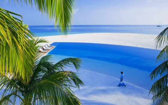 пальмы, море, остров, песок, maldives, бассейн, white, summer,