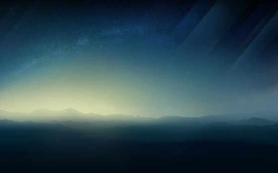 космос, stars, горизонт,