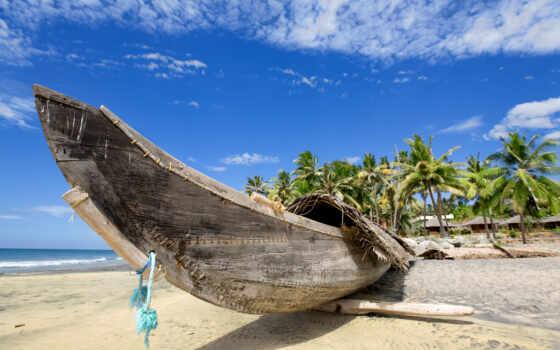 лодка, пляж, canoe, thai, море, побережье, рай, фон, summer