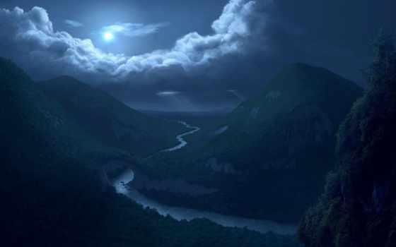 ночь, лунная, луна