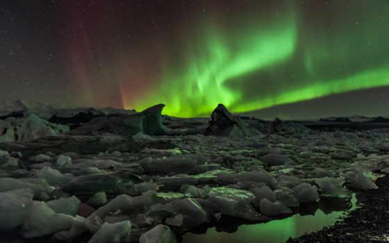 north, северное, сияния, лед, широкоформатные, ночь, water, winter,