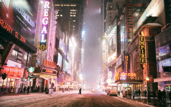 нью, york, new, город, winter, улица, usa, nyc, ночь, manhattan,