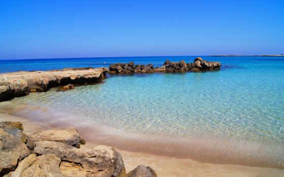 кипр, море, камни, побережье, горизонт, water, protaras,