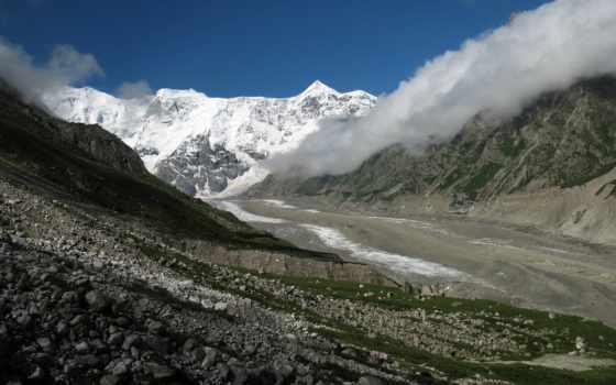 горы, дымка, ущелье, природа, каньон, landscape, небо, ледники, туман, oblaka, js,