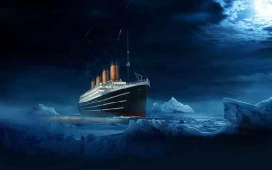 titanic, ночь, судно, лайнер, water, iceberg,