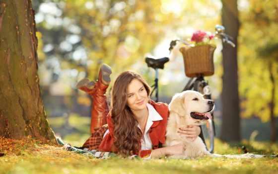 девушка, собакой, парке, клипарт, собака, devushki, велосипедом, красивая, траве, фотоклипарт,