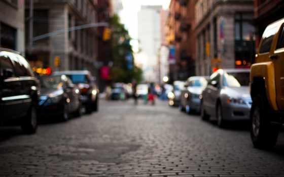 город, здания, машины, улица, new, york, дорога, размытость,