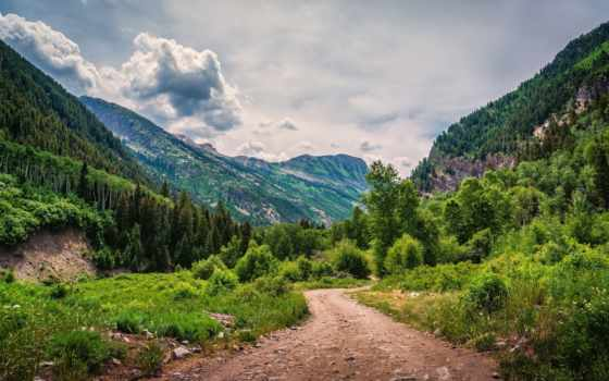 лес, montaña, пейзажи -, альпы, горы, trees, carretera, дорога, против, природы,