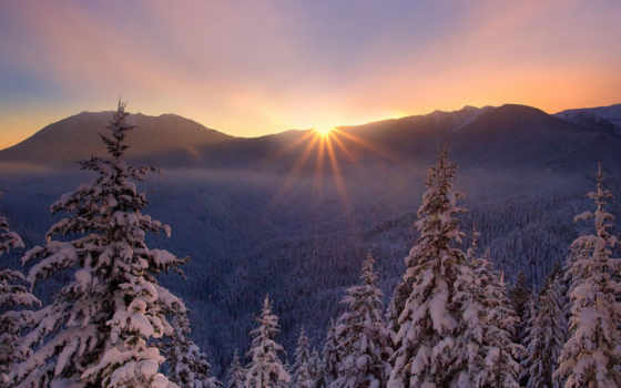 рассвет, winter, zima, card, горах, яndex, красивый, коллекции, коллекциях, закат, природа,