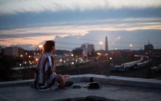 город, девушка, крыша, ночь, смотреть, коллекция, sit, card, вечер, фотопортрет, парень