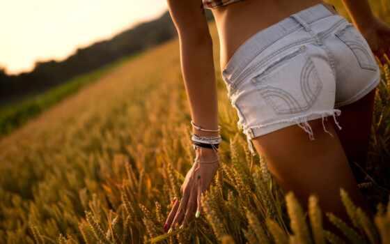 девушка, трусы, arm, поле, stand, denim, booty, спина