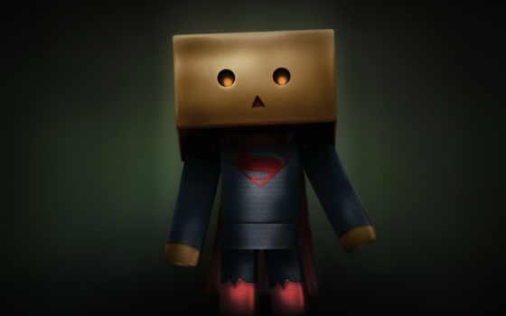 danbo, box, superman, art, свет, drawing,