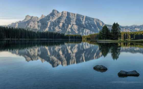 озеро, гора, отражение