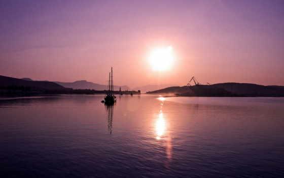 закат, сиреневый, море, вечер, игры, город, мегашара, абсолютно, пейзажи -,