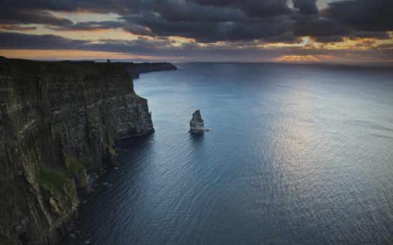 ирландский, природа, мохер, ирландии, church, скалы, ocean, browse, атлантический, побережье, утёсы,