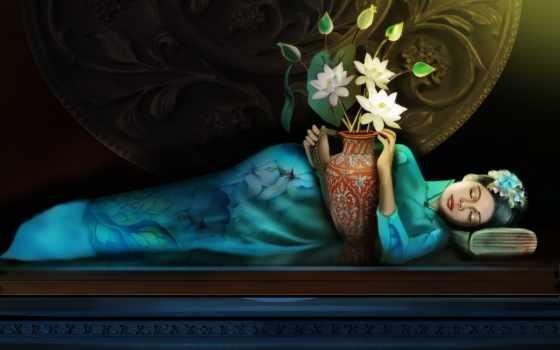 девушка, спит, женщина, вазой, devushki, обнимку, fantasy, deco, art,
