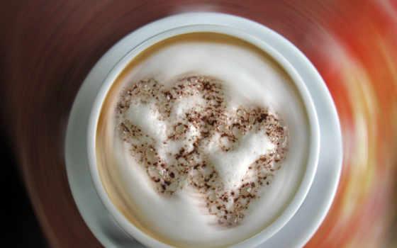 cappuccino, coffee, cup, сердце, love,
