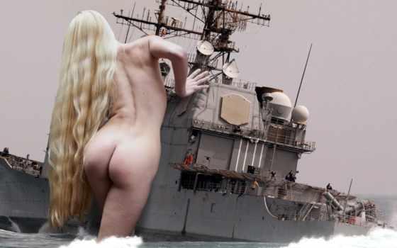 девушка, uss, bay, фэнтези, mobile, fantasy, корабль, guided, фотошоп, ракета,